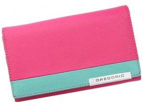 Gregorio Kožená ružovo-tyrkysová dámska peňaženka v darčekovej krabičke