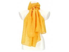 Dámska letná jednofarebná šatka / šál 180x90 cm žltá