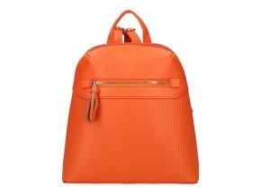 Korálovo oranžový módny dámsky batôžtek s čelným vreckom AM0065