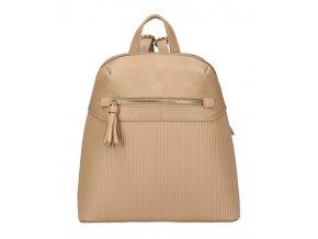 Béžovo-hnedý módny dámsky batôžtek s čelným vreckom AM0065