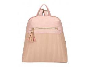 Ružový módny dámsky batôžtek s čelným vreckom AM0065