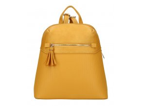 Žltý módny dámsky batôžtek s čelným vreckom AM0065