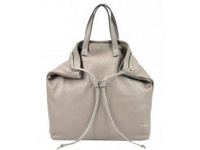 Pierre Cardin Kožená veľká dámska kabelka do ruky / ruksak tmavo béžová (hnedo-šedá)