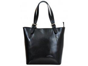 Veľká čierna kožená dámska kabelka cez rameno L Artigiano