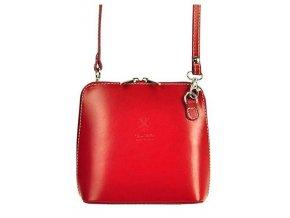 Kožená malá dámska crossbody kabelka červená