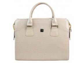 PUNCE LC-01 béžová lakovaná dámska kabelka pre notebook do 15.6 palca