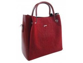 Elegantná dámska kabelka S728 červeno-bordová GROSSO