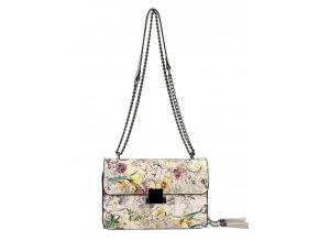 Crossbody dámska kabelka na retiazke s potlačou 6257 šedá