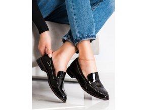 Dizajnové dámske poltopánky čierne na plochom podpätku