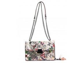 Crossbody dámska kabelka na retiazke s potlačou 6257 ružová