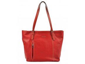 Pierre Cardin Kožená veľká dámska kabelka cez rameno červená