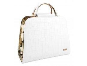 Luxusná bielo-zlatá kroko kabelka do ruky S81 GROSSO