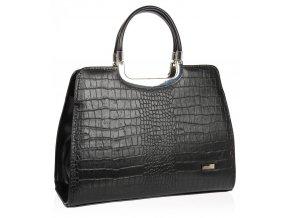 Elegantná čierna matná kabelka v kroko dizajne S8 GROSSO