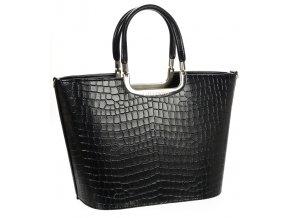 Luxusná kabelka čierna matná S7 krokodíl GROSSO