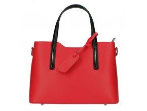 Kožená červená dámska kabelka s čiernymi ramienkami do ruky Maila