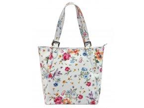Veľká biela kožená dámska kabelka cez rameno v kvetovanom motívu L Artigiane