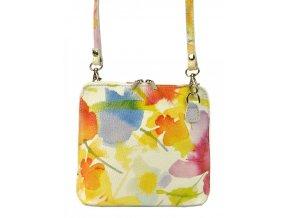 Kožená malá dámska crossbody kabelka s motívom kvetov žltá