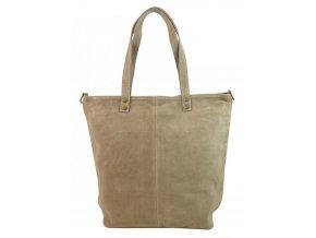 Kožená veľká pískovo hnedá brúsená praktická dámska kabelka