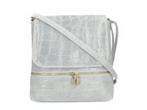 Kožená dámska crossbody kabelka v kroko dizajne svetlo sivá
