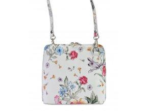 Kožená malá dámska crossbody kabelka s motívom kvetov biela