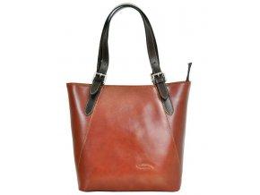 Veľká hnedá kožená dámska kabelka cez rameno L Artigiano s tmavo hnedými uchami