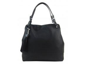 Čierna moderná kabelka cez rameno s hadími ramienkami 4896-BB