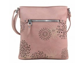 Crossbody dámska kabelka v kvetovanom dizajne ružová 5432-BB
