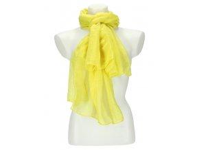 Dámska letná jednofarebná šatka 180x90 cm žltá