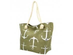 Veľká moderná plážová taška khaki zelená 21506