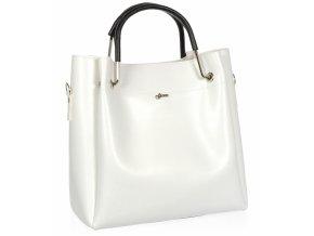 Biela moderná dámska kabelka s čiernymi rúčkami S728 GROSSO