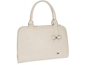 Béžová elegantná dámska kabelka s mašľou S411 GROSSO