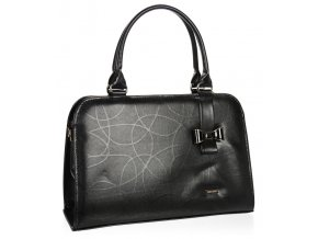 Čierna elegantná dámska kabelka s mašľou S411 GROSSO