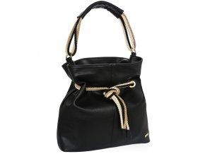 Čierna mäkká kabelka cez rameno s lanovými držadlami S761 GROSSO