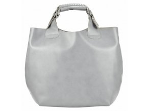 Veľká svetlo sivá kožená dámska shopper kabelka