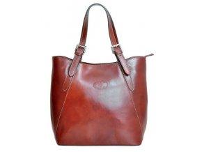 Veľká hnedá kožená dámska kabelka cez rameno
