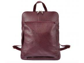 Kožený dámsky módny batôžtek s čelným vreckom Patrizia Piu bordový