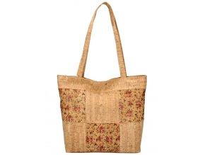 Korková prírodná dámska kabelka cez rameno s ružovými kvietkami MR011