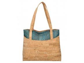 Korková prírodná dámska kabelka cez rameno modrá MR013