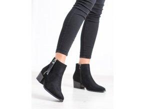 Dizajnové členkové topánky dámske čierne na širokom podpätku