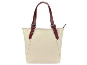 Veľká krémová kožená dámska kabelka s hnedými ušami L Artigiane