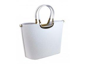 Elegantná biela matná kabelka so zlatými doplnkami S7 GROSSO