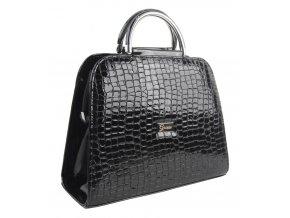 Luxusná čierna lakovaná kroko kabelka do ruky S81 GROSSO