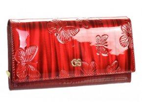 GROSSO Kožená dámska peňaženka v motíve motýľov RFID červená v darčekovej krabičke