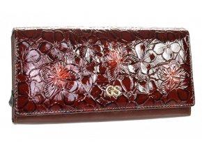 GROSSO Kožená dámska peňaženka v kvetovanom motívu RFID hnedá v darčekovej krabičke