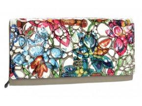GROSSO Kožená dámska peňaženka vo farebnom motíve RFID šedá v darčekovej krabičke