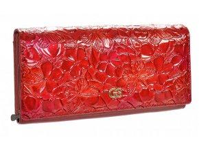GROSSO Kožená dámska peňaženka v kvetovanom motívu RFID červená v darčekovej krabičke