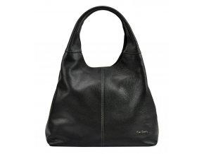 Pierre Cardin Kožená veľká dámska kabelka cez rameno čierna