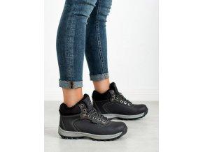 Pohodlné trekingové topánky dámske čierne bez podpätku