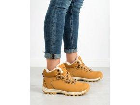 Exkluzívne zlaté trekingové topánky dámske bez podpätku