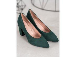 Luxusné zelené dámske lodičky na širokom podpätku